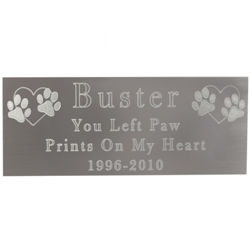 Engraved Pet Memorial Plaque- Large Silver Finish