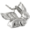 Sterling Silver Silver Pet Cremation Jewelry- Bunny Rabbit (Ears up)